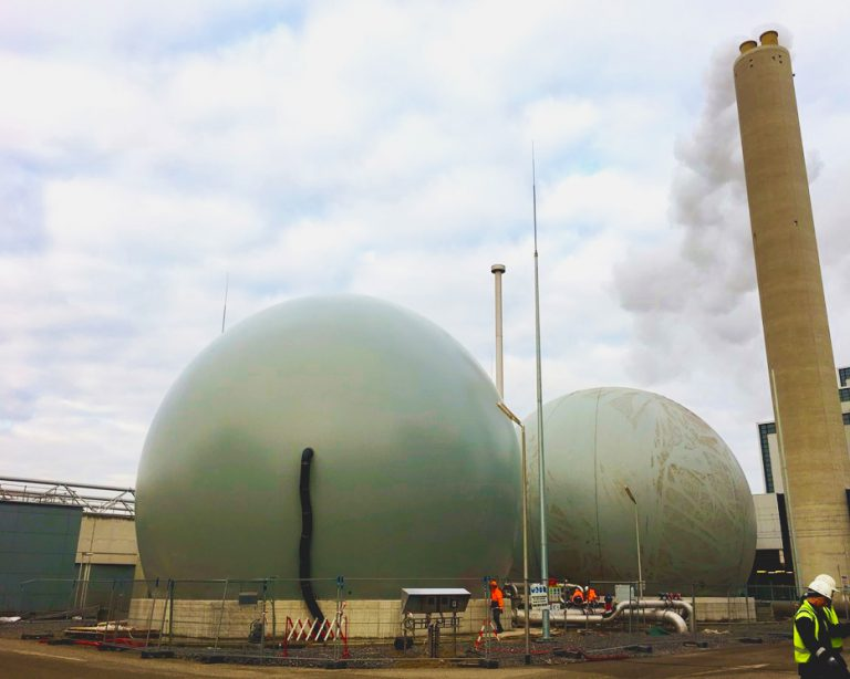 Two Flexxosphere's next to each other in use for gas storage