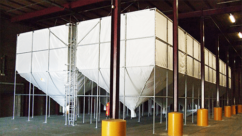 The Nicosilo is a (mobile) silo made of technical textiles and suitable for the storage of light bulk goods. Click here for more information about this product.