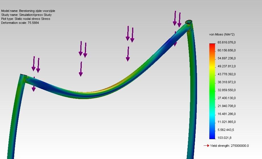 Calcul de la force - En plus des simulations d'agitation pour le sac de fumier, Flexxolutions effectue également des simulations de déflexion pour notre Flexxosilo.